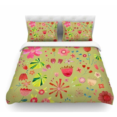 Wild Meadow by Nic Squirrell Olive Floral Digital Illistration Featherweight Duvet Cover Size: King