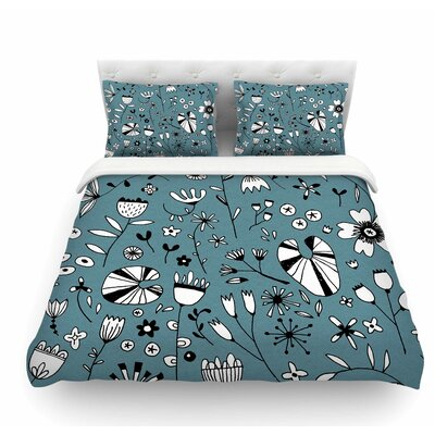 Etched Flowers by Nic Squirrell Featherweight Duvet Cover Size: King
