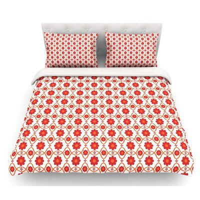 Floral by Nandita Singh Crimson Featherweight Duvet Cover Size: King, Color: Red/White