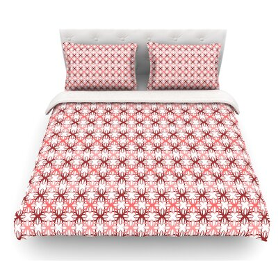 Motifs by Nandita Singh Geometric Featherweight Duvet Cover Color: Red/Pink, Size: King