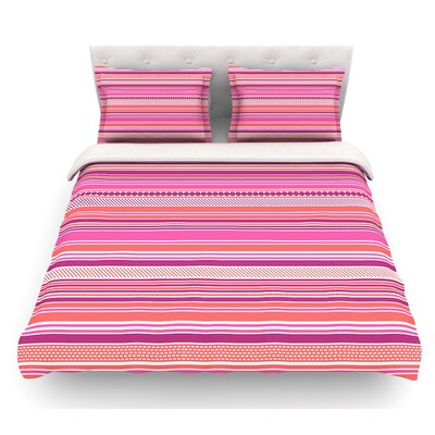 Ribbons by Nandita Singh Blush Featherweight Duvet Cover Size: Queen