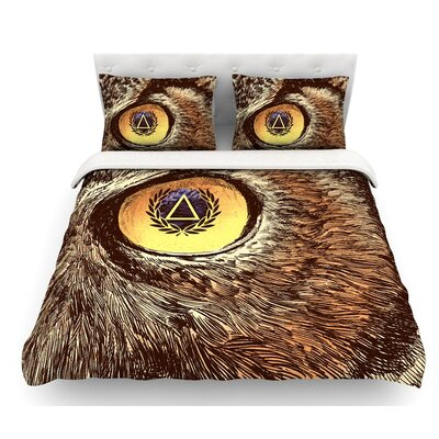 Sharp Eye by BarmalisiRTB Owl Featherweight Duvet Cover Size: Queen