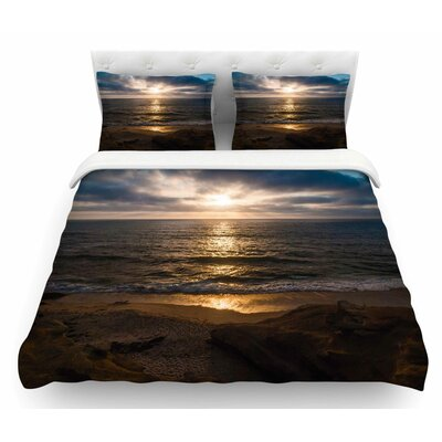 La Jolla Sunset On Beach Featherweight Duvet Cover Size: Twin