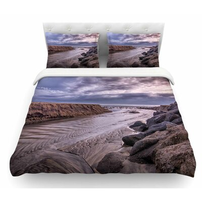 Clouds Over Carlsbad Beach by Nick Nareshni Coastal Featherweight Duvet Cover Size: Queen