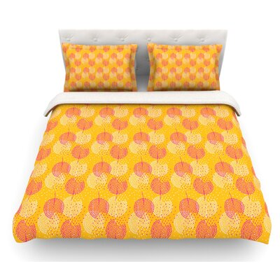 Wild Summer Dandelions by Apple Kaur Designs Circles Featherweight Duvet Cover Color: Gold/Orange, Size: King