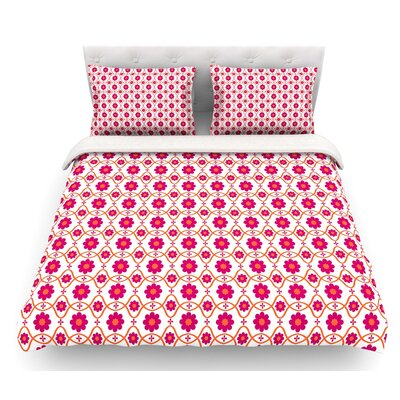 Floral by Nandita Singh Crimson Featherweight Duvet Cover Size: Queen, Color: Magenta/Pink