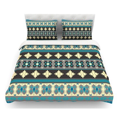 Borders by Nandita Singh Featherweight Duvet Cover Color: Teal/Yellow/Blue, Size: Queen