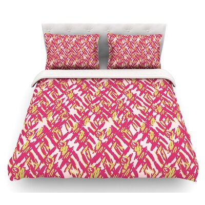 Abstract Print by Nandita Singh Featherweight Duvet Cover Size: Twin, Color: Pink/Red