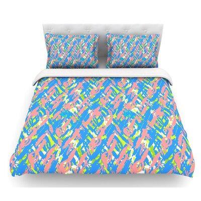 Abstract Print by Nandita Singh Featherweight Duvet Cover Color: Blue/Pink, Size: Queen