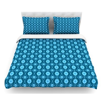 Floral by Nandita Singh Crimson Featherweight Duvet Cover Size: King, Color: Blue/Aqua