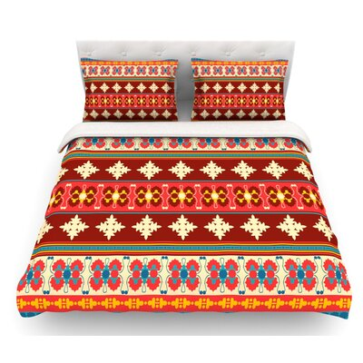 Borders by Nandita Singh Featherweight Duvet Cover Size: King, Color: Maroon/Red