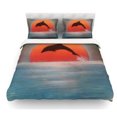 Dolphin Sunset by Infinite Spray Art Featherweight Duvet Cover Size: Twin