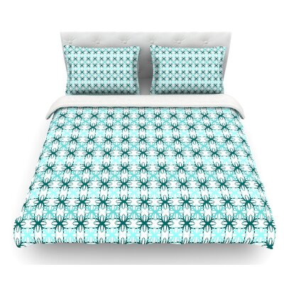 Motifs by Nandita Singh Geometric Featherweight Duvet Cover Size: Queen, Color: Blue/Aqua
