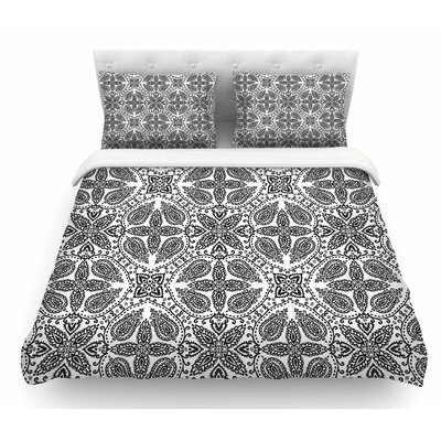 Boho by Nandita Singh Abstract Featherweight Duvet Cover Color: Gray/Black/White, Size: Twin