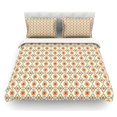 Floral by Nandita Singh Crimson Featherweight Duvet Cover Color: Orange/Peach, Size: Queen