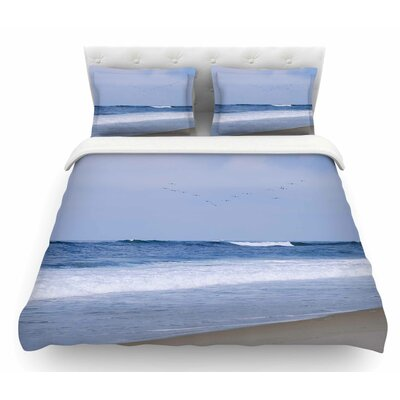 Seagulls on the Beach by Nick Nareshni Featherweight Duvet Cover Size: Queen