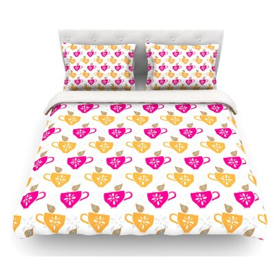 Tea-Birds by Apple Kaur Designs Featherweight Duvet Cover Size: King