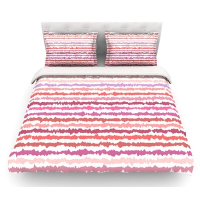 Blush Stripes by Nandita Singh Striped Featherweight Duvet Cover Size: Twin