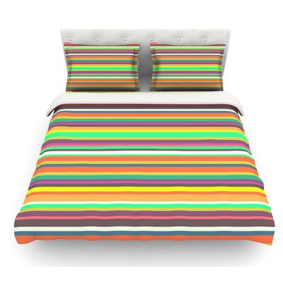 Pattern Play Stripes by Nandita Singh Rainbow Featherweight Duvet Cover Size: Queen