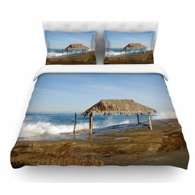 Crashing Waves Near Hut by Nick Nareshni Featherweight Duvet Cover Size: King