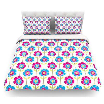 Lolly Flowers by Apple Kaur Designs Featherweight Duvet Cover Size: Queen