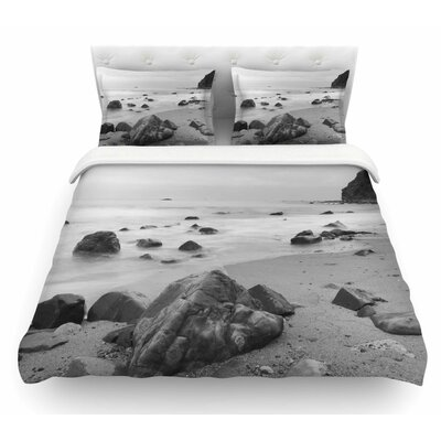 Water Moving Around Rocks by Nick Nareshni White Featherweight Duvet Cover Size: King