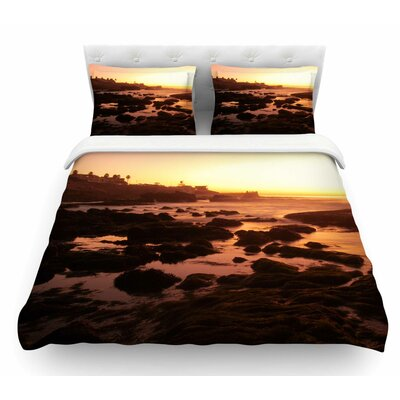 Rocks Of La Jolla Sunset Featherweight Duvet Cover Size: Queen