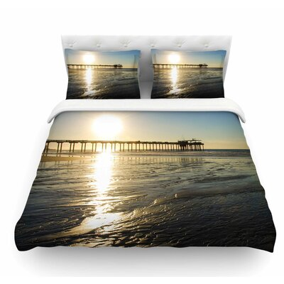 Sun Over Scripps Pier by Nick Nareshni Featherweight Duvet Cover Size: Queen