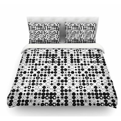 Funny Polka Dots by Nandita Singh Abstract Featherweight Duvet Cover Color: White/Black, Size: Queen