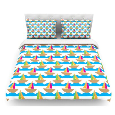 Beside the Seaside by Apple Kaur Designs Boats Featherweight Duvet Cover Size: Twin