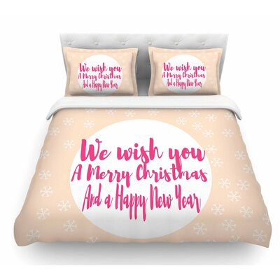 Merry Chistmas and Happy New Year by Suzanne Carter Featherweight Duvet Cover Size: Twin