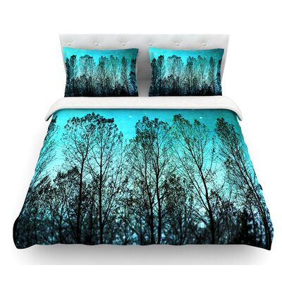Dark Forest by Sylvia Cook Trees Featherweight Duvet Cover Size: Twin