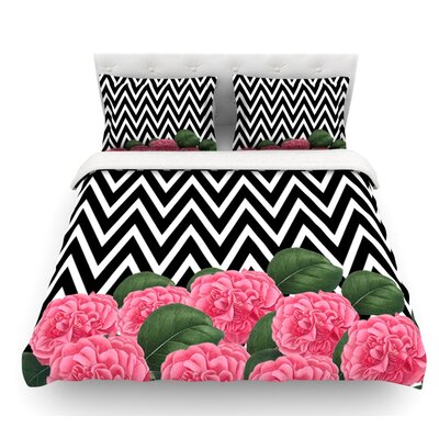 Camellia by Suzanne Carter Chevron Flower Featherweight Duvet Cover Size: Twin