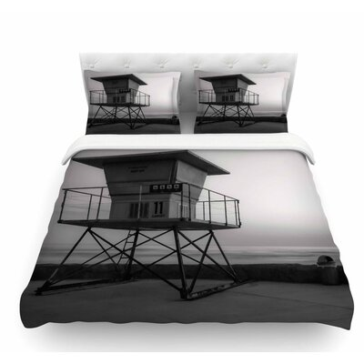 Lifeguard Station at Dusk by Nick Nareshni Featherweight Duvet Cover Size: Queen