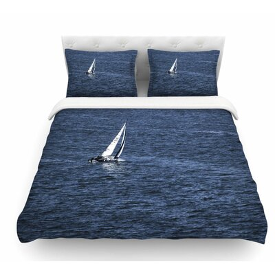 Boat on the Ocean by Nick Nareshni Featherweight Duvet Cover Size: Twin