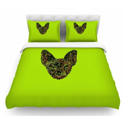 Geometry Sphynx by BarmalisiRTB Animals Featherweight Duvet Cover Size: Twin