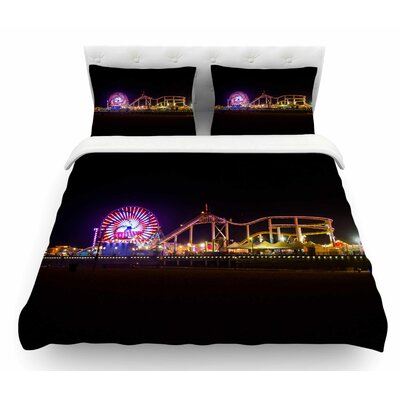 Santa Monica Pier by Juan Paolo Featherweight Duvet Cover Size: Queen