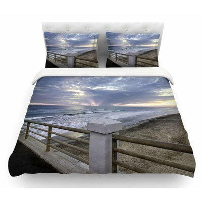 Oceanside Pier At Sunset Coastal Featherweight Duvet Cover Size: Twin