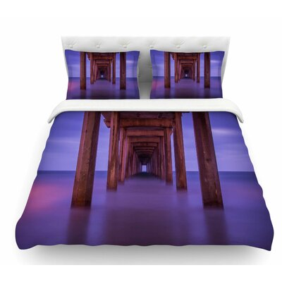 Scripps Pier by Juan Paolo Featherweight Duvet Cover Size: Queen