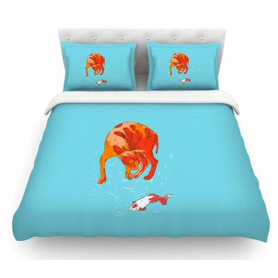 Koi Cat by BarmalisiRTB Featherweight Duvet Cover Size: Queen