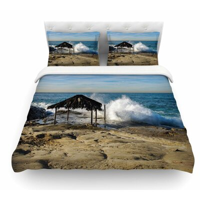 Straw Hut on Beach by Nick Nareshni Featherweight Duvet Cover Size: Queen