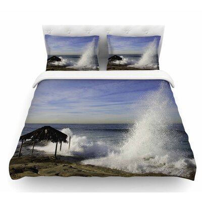 Hut with Crashing Wave by Nick Nareshni Featherweight Duvet Cover Size: Twin