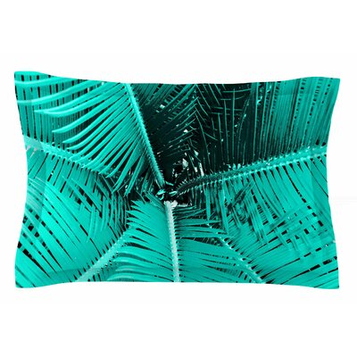 Palm by Suzanne Carter Pillow Sham Size: Queen, Color: Aqua