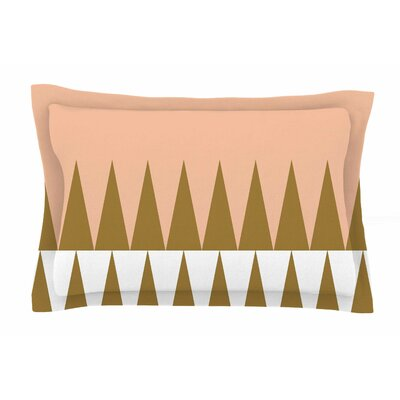 Peach Geo by Suzanne Carter Pillow Sham Size: Queen