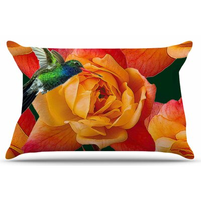Roses in Hummingbird by Shirlei Patricia Muniz Pillow Sham Size: King