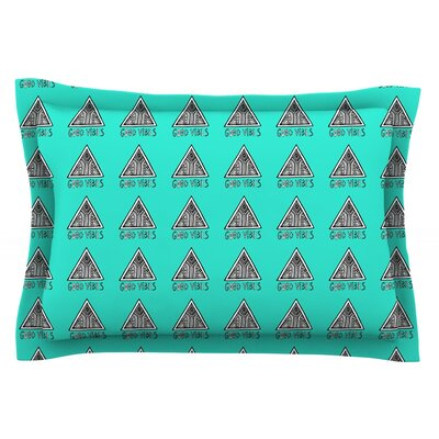 Good Vibes Green by Vasare Nar Pillow Sham Size: Queen