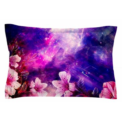 Space Flowers by Shirlei Patricia Muniz Pillow Sham Size: Queen