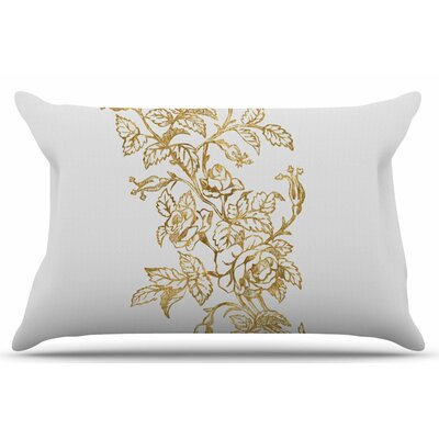 Golden Vintage Rose by 888 Design Pillow Sham Size: King
