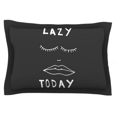 Lazy Today by Vasare Nar Pillow Sham Size: Queen, Color: Gray