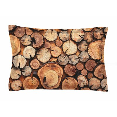Rustic Wood Logs by Susan Sanders Pillow Sham Size: Queen